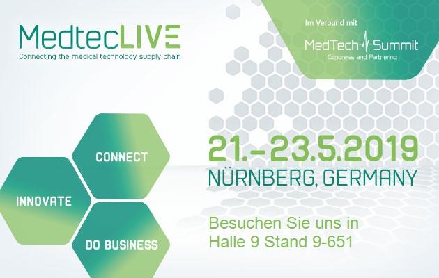 Let's meet! Zum Beispiel auf der MedtecLIVE vom 21-23.05. 2019 in Nürnberg an unserem Stand 9-651, Halle 9
